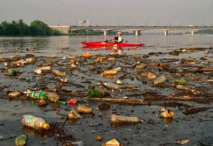Trash in the Anacostia River, Washington, D.C.