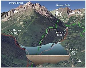 Wilderness Workshop graphic showing proposed Maroon Creek Reservoir
